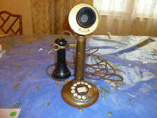 ANTIQUE PAT. NOVEMBER 1910 ROTARY DIAL BRASS CANDLESTICK TELEPHONE