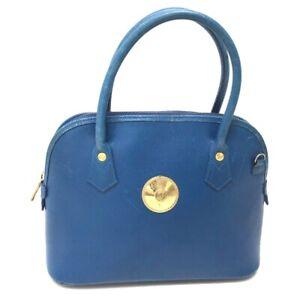 MCM Logo Hardware 2 WAY Bag Shoulder Bag Hand Bag blue Leather