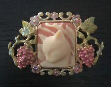 KIRKS FOLLY CAT Cameo Enamel Crystal Rhinestone Grapes Floral PIN Brooch NIB