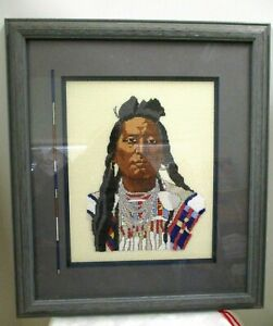 FRAMED COUNTED CROSS STITCH BEADED PORTRAIT MOUNTAIN CROW CHIEF PLENTY COUPS