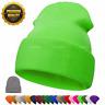 Men Warm Wool Beanie Hats Winter Warm Knitted Hat Hiking Cuffed Knit Stretch Cap