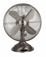 Oscillating Table Fan 12 in. Brushed Nickel 3-Speed All-Metal For Home Office