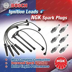 6 x NGK Spark Plugs + Bosch Ignition Leads Kit for Nissan Pathfinder R50 3.3L