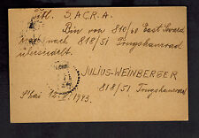 1943 Shanghai China Postcard Cover Jewish Ghetto New Address SACRA J Wieinberger