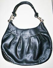 BCBG MAX AZRIA BCBGMAXAZRIA BLACK LEATHER HOBO SHOULDER BAG HANDBAG PURSE BLACK