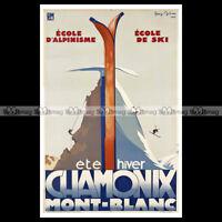 #phpb.000075 Photo CHAMONIX MONT-BLANC 1933 SPORT D'HIVER SKI Advert Reprint