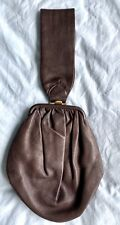 Vintage 1950s Classic Soft Brown Leather Wrist Bag