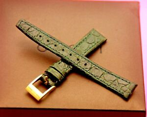 New Gucci 12 MM Green Alligator Pattern on Genuine Leather Watch Band  (12.104)