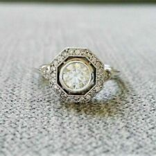 1.48 TCW Old European Cut Moissanite Engagement Ring in 14K White Gold Plated