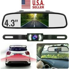Backup Camera Mirror Car Rear View Reverse Night Vision Parking System Kit 4.3