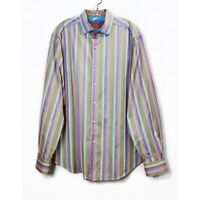 Robert Graham Colorful Stripe Button Down Shirt Purple Green Flip Cuff Mens Sz L