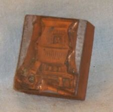 "VINTAGE POTBELLY STOVE PRINTERS STAMP 1.5"" X 2"" COPPER OVER WOOD FURNACE 1920 ?"