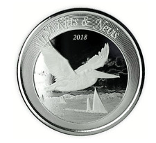 2018 silver ST KITTS & NEVIS Pelican 1 oz ounce coin 2 dollars new RARE