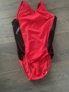 Short Sleeved Competition Leotard 30 Inch Black/Red / Diamonte