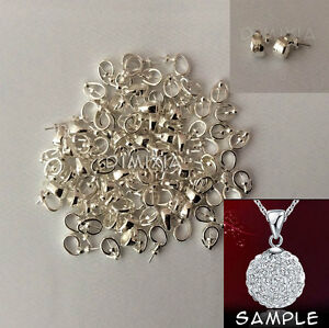 925 Sterling Silver Ball Cup Cap Bail Pendant Connector Findings Stamped DIY