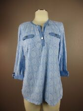 *LAURA SCOTT* SIZE 16P/18P WOMEN'S V-NECK BLUE STRETCH 3/4 SLEEVE TOP
