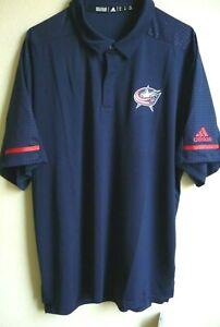 NHL Adidas Columbus Blue Jackets Hockey GameDay Polo Shirt XL NWT 1152A