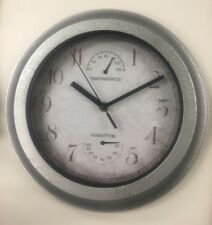 Indoor Outdoor Wall Clock with Temperature And Humidity Sealed Battery Operated