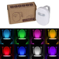 12Colors LED Rechargeable Waterproof Toilet Night Light Lamp Motion Sensor