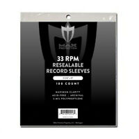 100 Max Pro 33RPM Resealable Record Album Archival 2-Mil Clear Poly Bags Sleeves