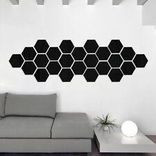 10PCS Silver Acrylic 3D Geometric Hexagon Mural Wall Sticker Mirror Room Home RD