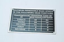 G506 Chevrolet WW2 ''Max. Road Speed'' data plate ZINC G085