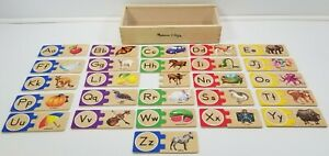 MS) Melissa & Doug - Self-Correcting Wooden Alphabet Letter Puzzles with Box
