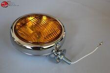 """5"""" Small Chrome Amber Glass Fog Light Lamp 12 Volt Custom Car Pickup Truck"""