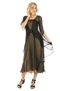 Nataya Vintage Dress S Black/Gold Gatsby Romantic Rose NWT #10709