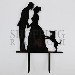 Wedding Cake Topper Mr & Mrs Pet Dog Black Acrylic Decoration
