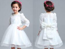 NEW Elegant Wedding Flower Girls White Pearl Beads Embellished Neckline Dress 3T