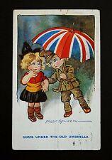 WW1 Postcard Union Jack Umbrella Soldier Spurgin Cambridge St Oldham Lancs