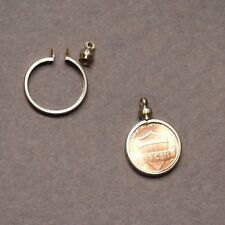 Penny USA / 1 cent Coin Holder Bezel Silver Tone charm, necklace, pendant pk/4