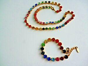 SoHo Rainbow Collier gelb vergoldet Halskette Regenbogen bunt Kristall Strass