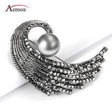 Women Vintage Pin Black Rhinestone Pearl Angel Wing Shape Brooch Pins Jewelry