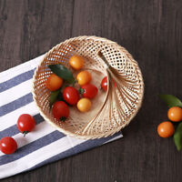 Vintage Natural Bamboo Wicker Bread Basket Fruit Storage Hamper Display Tray