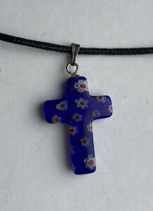 Murano Glass Blue Millefiori Cross Pendant And Chain