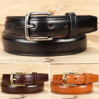 Amish Handmade Italian Leather Raised Center Dress Belt - Black Brown or Cognac