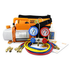 HVAC Manifold Gauge & Vacuum Pump Refrigeration R22 R134a R12 R410A Diagnostic