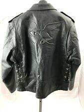 Genuine Leather Mens Large Black Eagle Snake Embossed Biker Jacket