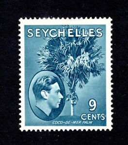 SEYCHELLES KGV1 1938 sg138a  9c GREY-BLUE MOUNTED MINT WITH SMALL HINGE CAT £38