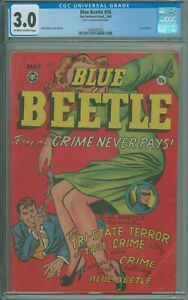 "Blue Beetle #56 CGC 3.0 G/VG Used in SOTI ""Cover re-attached with tape"" - 1948"