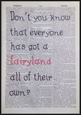 Fairy Land Quirky Quote Vintage Dictionary Print Page Art Picture Cute Pink Gift