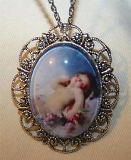 Gorgeous Scallop Rim Peaceful Angel & Flowers Cameo Silvertone Pendant Necklace