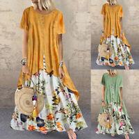 UK 8-24 Women Short Sleeve Floral Dress Vintage Double Layers Maxi Dresses Plus