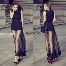 Korean Women Lace Evening Party Cocktail Bodycon Prom Slim Mesh Tunic Long Dress