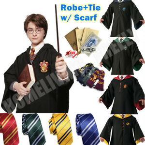 Robe+Tie+Scarf Harry Potter Costume Gryffindor Halloween Cosplay Party Xmas Kids