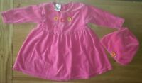 Baby girls ladybird pink outfit set dress and mayching hat age 9-12months