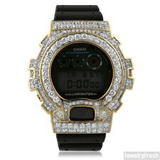 Gold Custom Big Stone 13.5 CTW Iced Out Mens G-Shock Watch DW6900