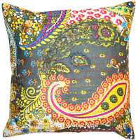 """Paisley Grey 16"""" Pillow Cushion Cover Floral Kantha Cotton Throw INDIAN Ethnic"""